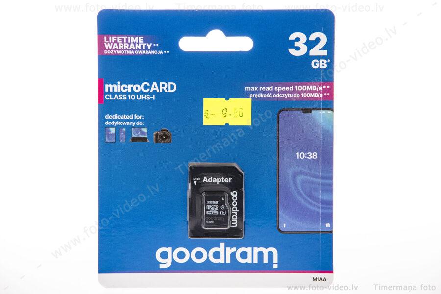 micro Card Goodram SDXC 32GB class 10 UHS-1 ar adapteri.