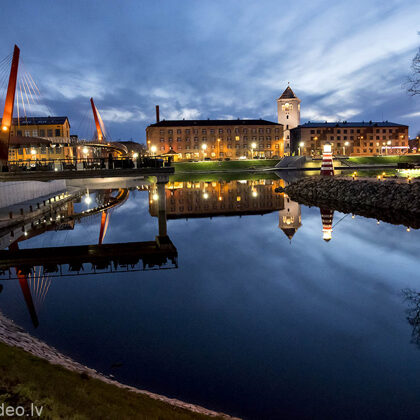 Jelgava. Driksas upe. Skats uz pilsētu.